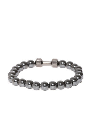 Unisex Gunmetal-Toned Beaded Bracelet