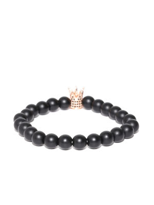 Unisex Black Crown-Shaped Beaded Bracelet
