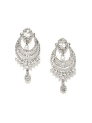 White Silver-Toned Rhodium-Plated Embellished Drop Earrings