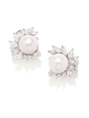 White Rhodium-Plated Handcrafted Floral Stud Earrings