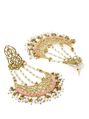 Gold-Toned Pink Handcrafted Chandbalis