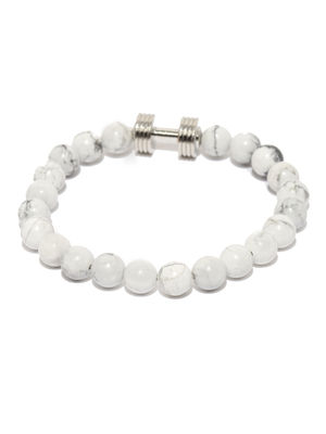 Men White Onyx Stone Dumble Bracelet