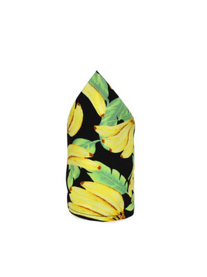 Black Yellow Printed Pocket Square