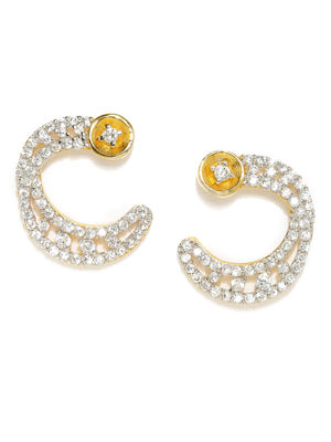 Gold-Toned White Contemporary Studs