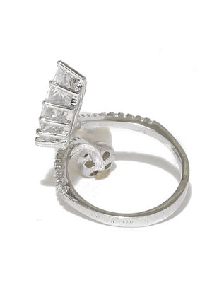 Silver-Toned White Gold-Plated Cz Stone-Studded Ring