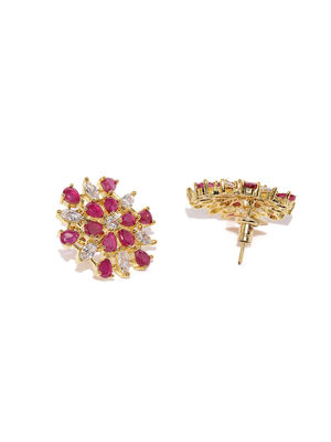 Gold-Toned Maroon Floral Studs