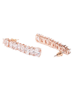 Rose Gold Plated Contemporary Drop Earrings