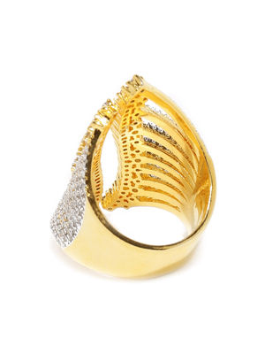 Pave Petal Gold Plated Statement Ring