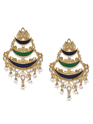 Gold-Toned Blue Crescent Shaped Chandbalis