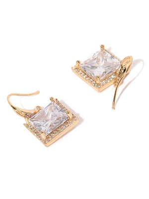 Gold-Toned Square Lucida Drop Earrings