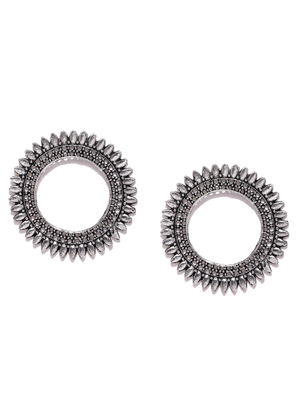 Silver-Toned Benesh Circular Drop Earrings