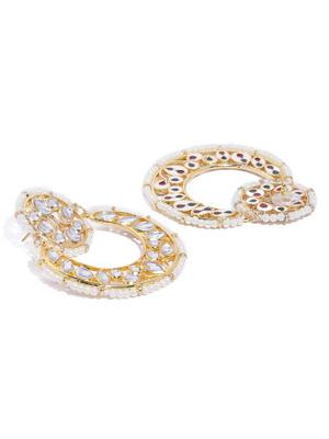 Gold-Toned White Geometric Chandbalis