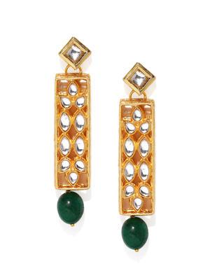 Gold-Toned White Geometric Drop Earrings