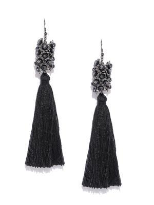 Black Mini Tassel Drop Earrings