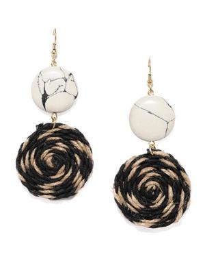 Black And Beige Swirl Drop Earrings