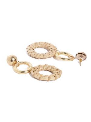 Beige Wooden Drop Earrings