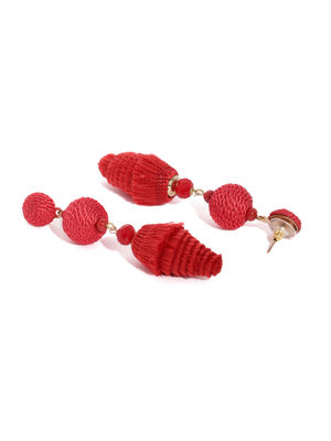 Red Fringe Statement Drop Earrings