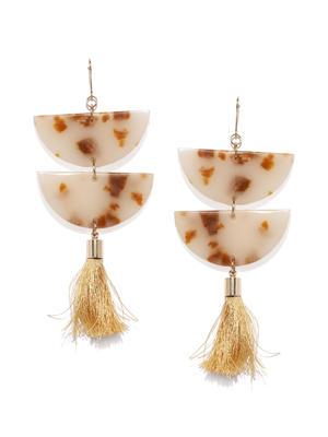 Beige Acrylic Tassel Drop Earrings