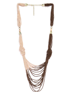 Beige & Brown Beaded Layered Necklace