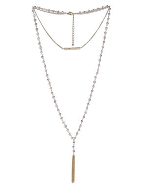 Beaded Tassel Drop Necklace