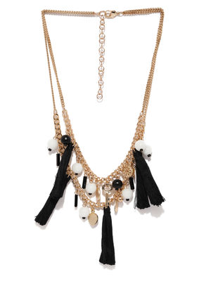 Black And Gold Charms Layered Necklace