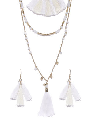 Gold-Toned White Tasseled Jewellery Set