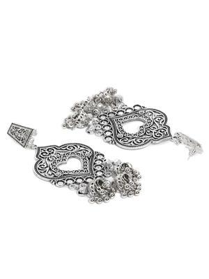 Silver-Toned Oxidised Classic Drop Earrings