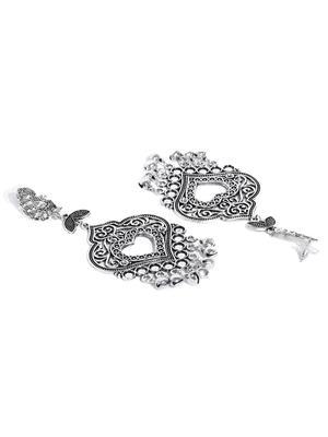 Oxidised Silver-Toned Mor Heart Drop Earrings
