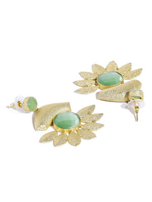 Gold-Toned Green Contemporary Drop Earrings