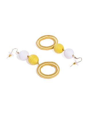 Yellow Threaded Geometric Drop Earrings