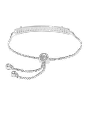 Women Silver-Toned Stone Studded Charm Bracelet