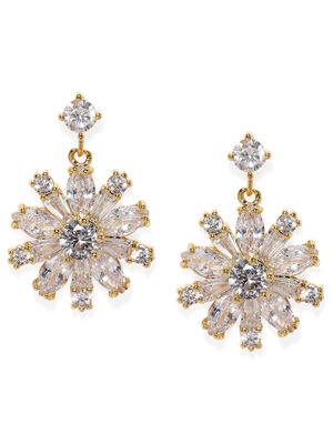 Gold Toned Floral Cz Stone-Studded Drop Earrings