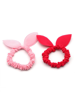 Toniq Kids Kids Set of 2 Bunny Ear Rubberband  for Girls (Pink and Fuchsia)