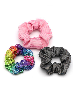 Toniq Kids Set of 3 Colorful Party Glitter Hair Scrunchy Rubberband for Girls