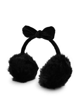 ToniQ Black Bunny Bow Fluffy Fur Ear Muffs