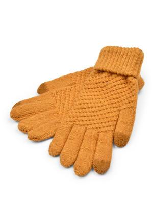 ToniQ Women Beige Brown Winter Crochet Knit Gloves