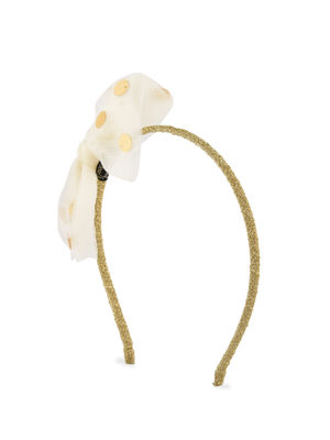 Party White and Gold  Polka Dotted Tulle Hair Band for Girls