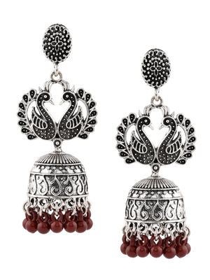 ToniQ Silver Peacock Drop Earring For Women
