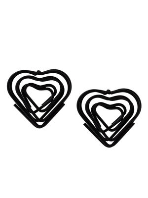 ToniQ Black Heart Shape Stud For Women