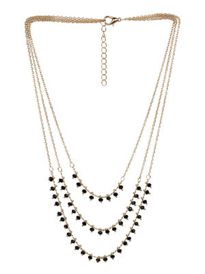 ToniQ Gold Black Crystal Layered Necklace For Women