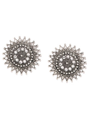 Silver-Toned Circular Studs