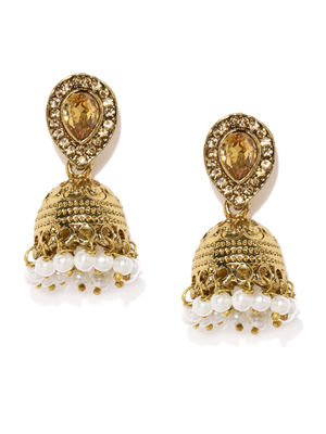 Gold Tone Classic Jhumka Earrings For Women