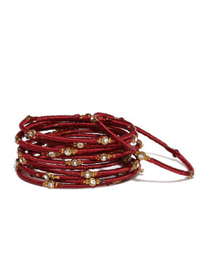 Women Set of 12 Maroon Beaded Bangles