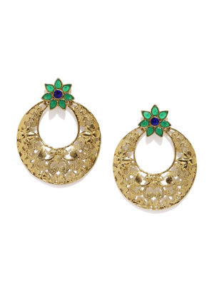 Navy Gold-Toned & Green Contemporary Drop Earrings