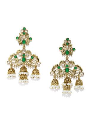 Gold-Toned Green Contemporary Jhumkas