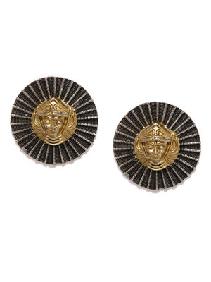 Gold & Oxidised Silver-Toned Dualist Spinx Handcrafted Circular Studs