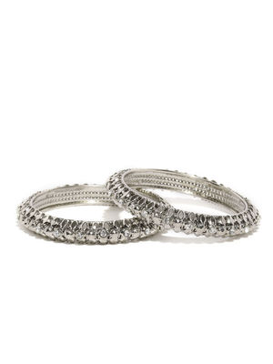 Set of 2 Silver-Toned Stone-Studded Bangles