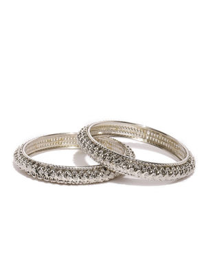 Set of 2 Silver-Toned Studded Bangles