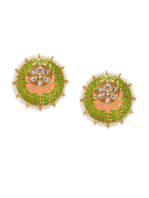 Green & Gold-Toned Enamelled Circular Studs