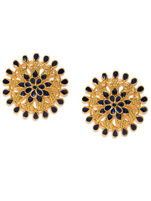 Gold-Toned & Navy Blue Oversized Circular Studs